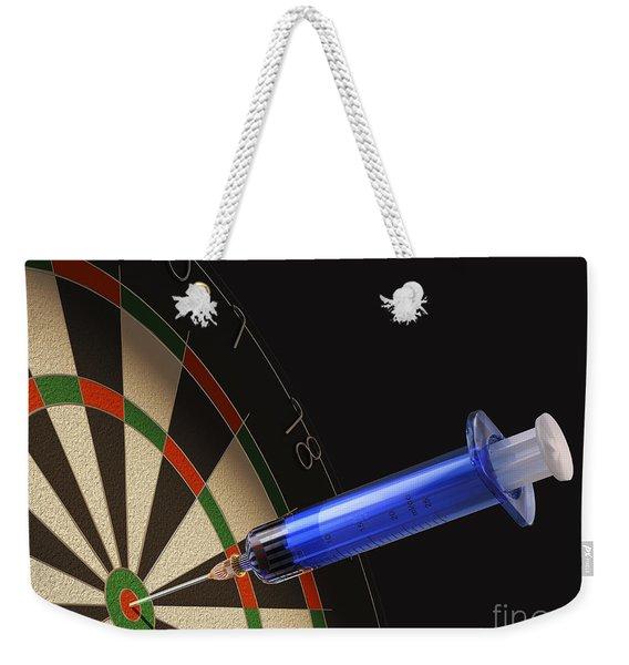Dartboard With A Medical Syringe Weekender Tote Bag