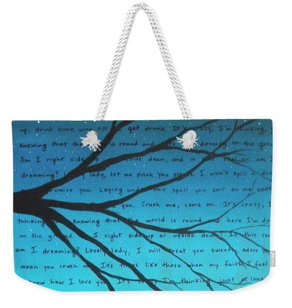 Dave Matthews Band Crush Lyric Art - Blue Weekender Tote Bag
