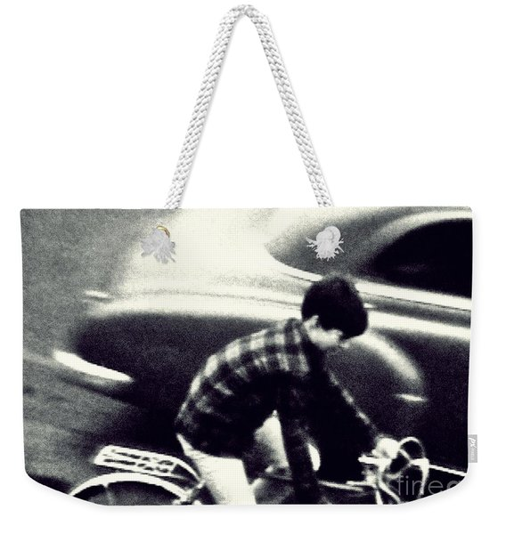 Weekender Tote Bag featuring the photograph Dave On A Bike by Patricia Strand