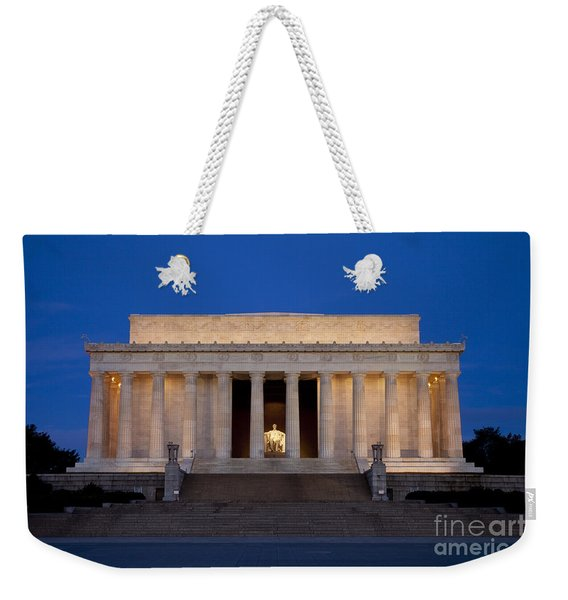 Weekender Tote Bag featuring the photograph Dawn At Lincoln Memorial by Brian Jannsen