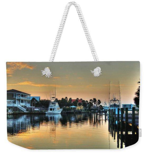 Dawn On A Orange Beach Canal Weekender Tote Bag