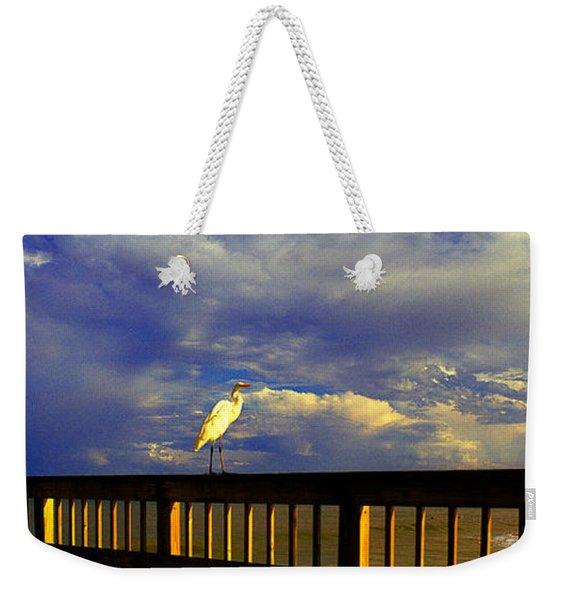 Daytona Beach Rail Bird Sun Glow Pier  Weekender Tote Bag
