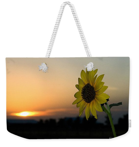 Weekender Tote Bag featuring the photograph Sunflower And Sunset by Mae Wertz