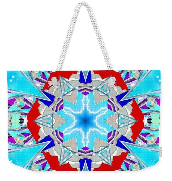 Deep Blue Geometry Weekender Tote Bag