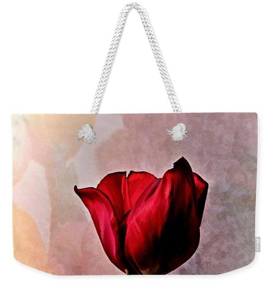 Deep Red Tulip On Pale Tulip Background Weekender Tote Bag