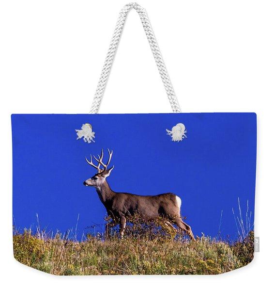 Deer And Blue Sky Outside Of Ridgway Weekender Tote Bag