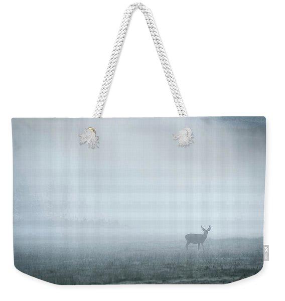 Deer In Fog At Dawn In Tuolumne Weekender Tote Bag