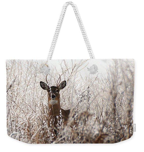 Deer In Winter Weekender Tote Bag