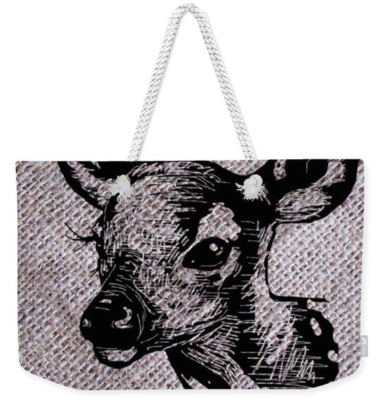 Deer On Burlap Weekender Tote Bag