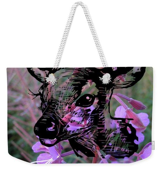 Deer On Flower Weekender Tote Bag