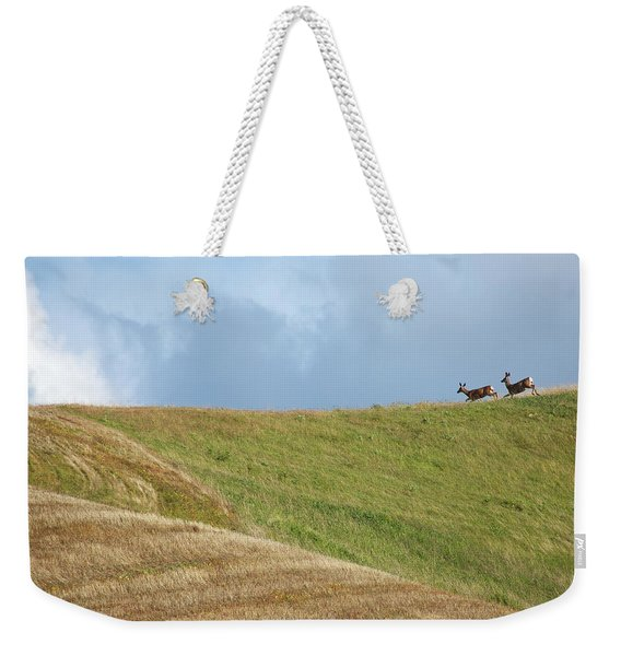 Weekender Tote Bag featuring the photograph Deer Taking Flight by Mary Lee Dereske