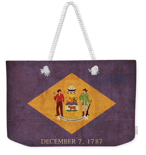 Delaware State Flag Art On Worn Canvas Weekender Tote Bag