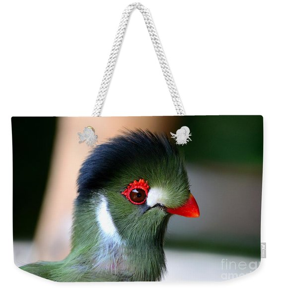 Delicate Green Turaco Bird With Red Beak White Patches And Black Crown Weekender Tote Bag