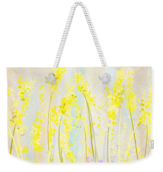 Delicately Soft- Yellow And Cream Art Weekender Tote Bag