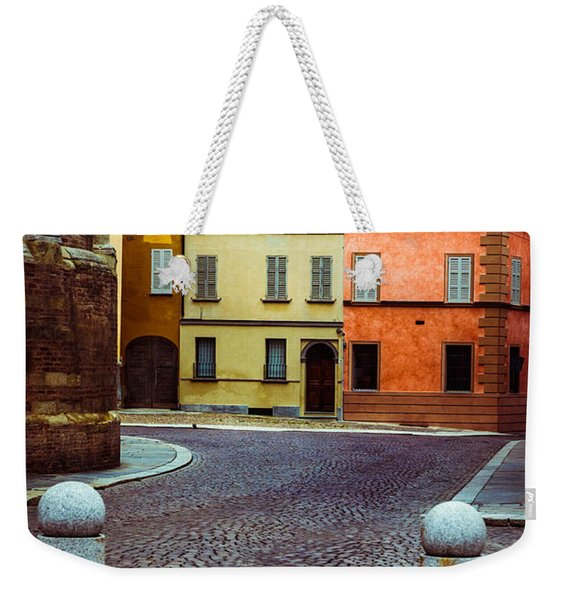 Deserted Street With Colored Houses In Parma Italy Weekender Tote Bag