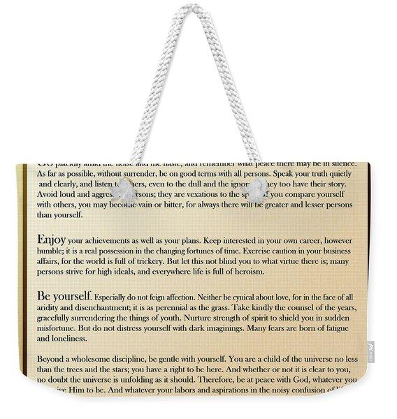 Desiderata Old English Square Weekender Tote Bag