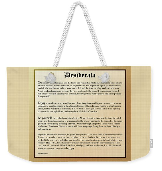Desiderata Old English Square Weekender Tote Bag