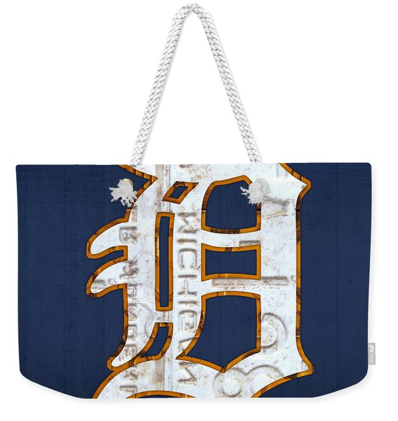 Detroit Tigers Baseball Old English D Logo License Plate Art Weekender Tote Bag