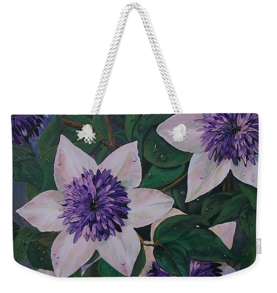 Clematis After The Rain Weekender Tote Bag