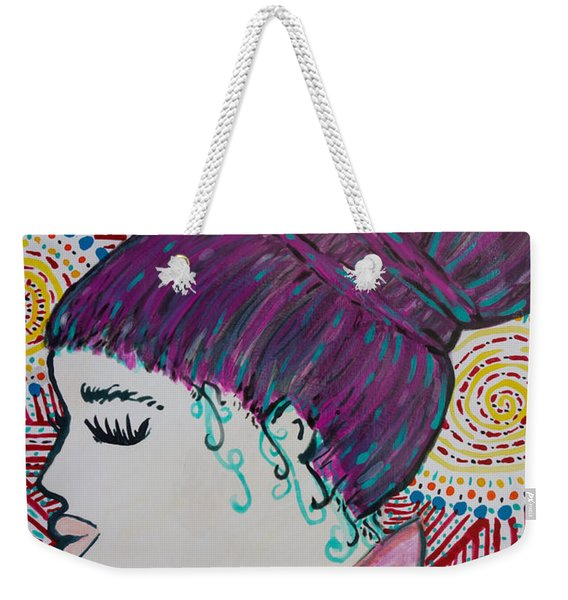Weekender Tote Bag featuring the painting Did You See Her Hair by Jacqueline Athmann