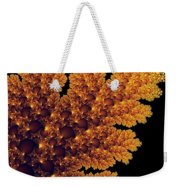 Digital Warm Golden Fractal Leaf Black Background Weekender Tote Bag