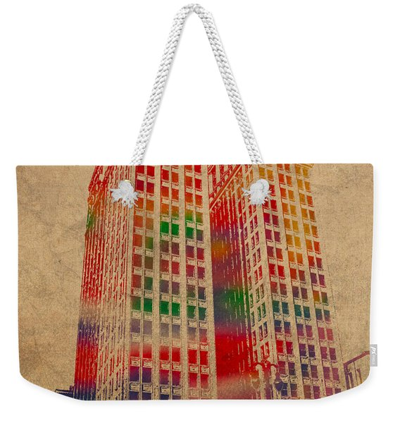 Dime Building Iconic Buildings Of Detroit Watercolor On Worn Canvas Series Number 1 Weekender Tote Bag
