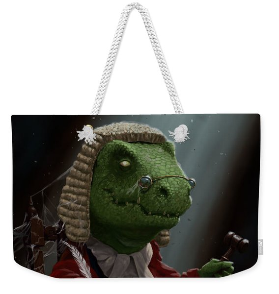 Dinosaur Judge In Uk Court Of Law Weekender Tote Bag