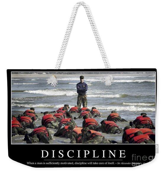 Discipline Inspirational Quote Weekender Tote Bag