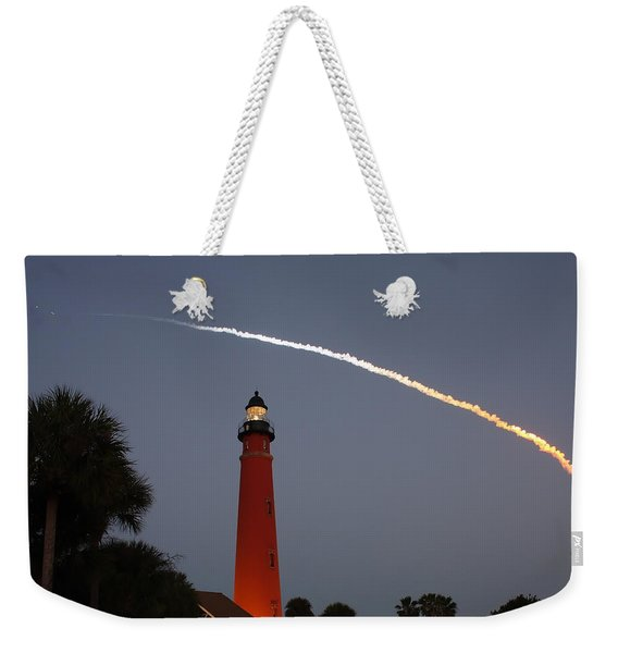 Discovery Booster Separation Over Ponce Inlet Lighthouse Weekender Tote Bag