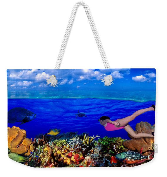 Diver Along Reef With Parrotfish, Green Weekender Tote Bag