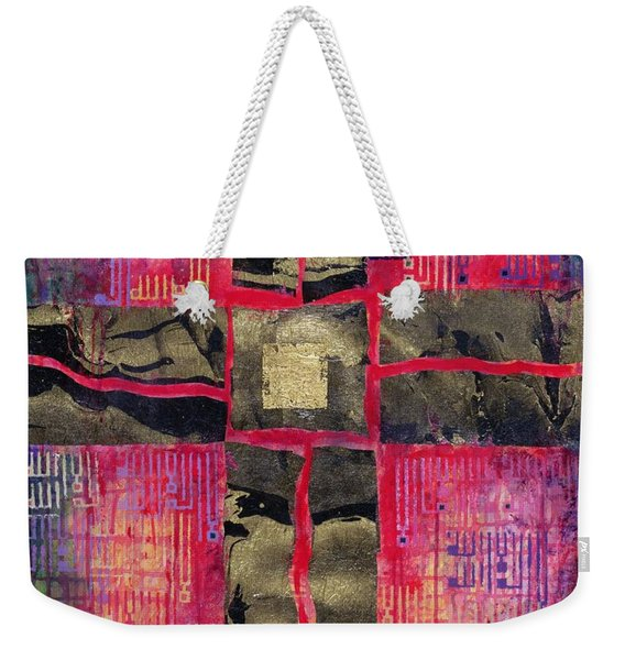 Divided Cross, 2000 Acrylic & Gold Leaf On Canvas Weekender Tote Bag