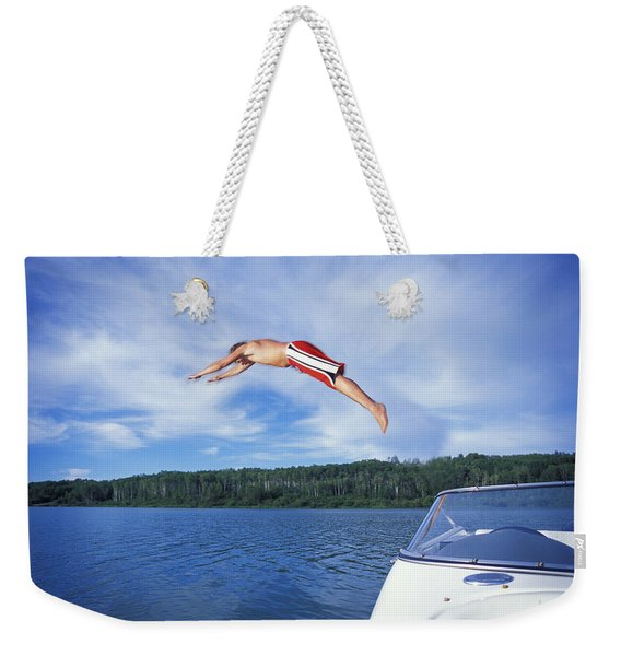 Diving Into A Lake Weekender Tote Bag