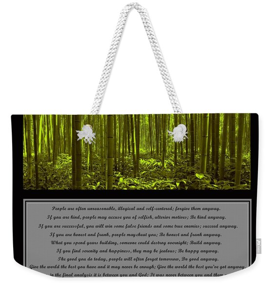 Do It Anyway Bamboo Forest Weekender Tote Bag