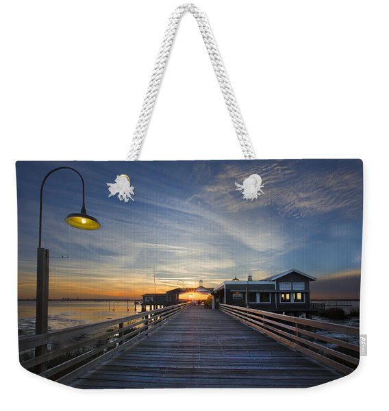 Dock Lights At Jekyll Weekender Tote Bag