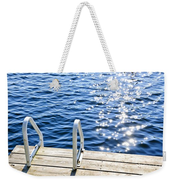 Dock On Summer Lake With Sparkling Water Weekender Tote Bag