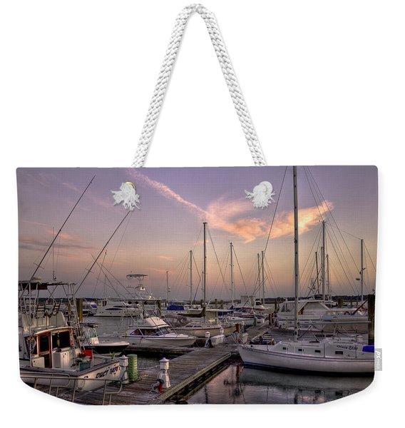 Dockside Sunset In Beaufort South Carolina Weekender Tote Bag