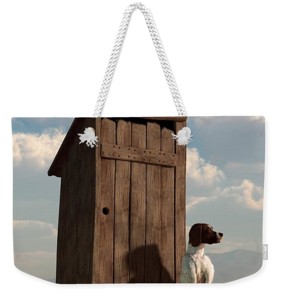 Dog Guarding An Outhouse Weekender Tote Bag