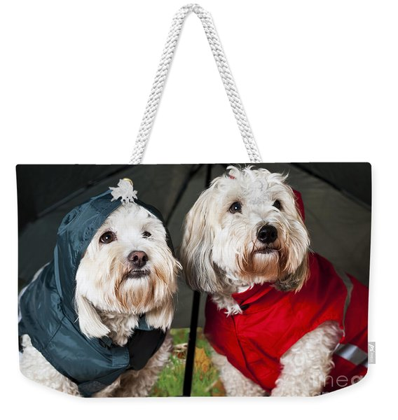 Dogs Under Umbrella Weekender Tote Bag