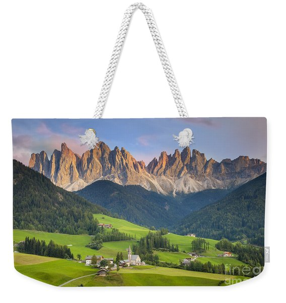 Weekender Tote Bag featuring the photograph Dolomites From Val Di Funes by Brian Jannsen