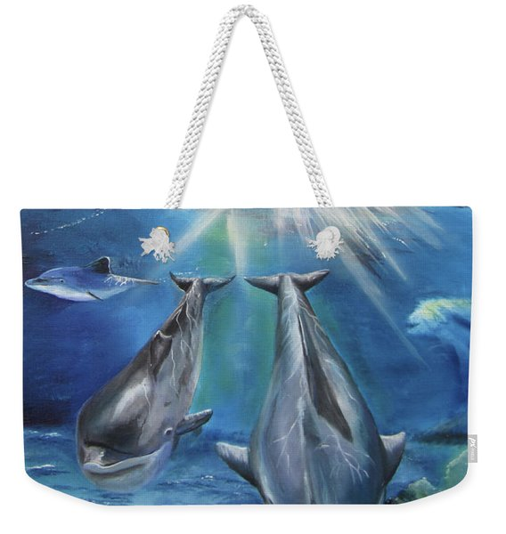 Dolphins Playing Weekender Tote Bag