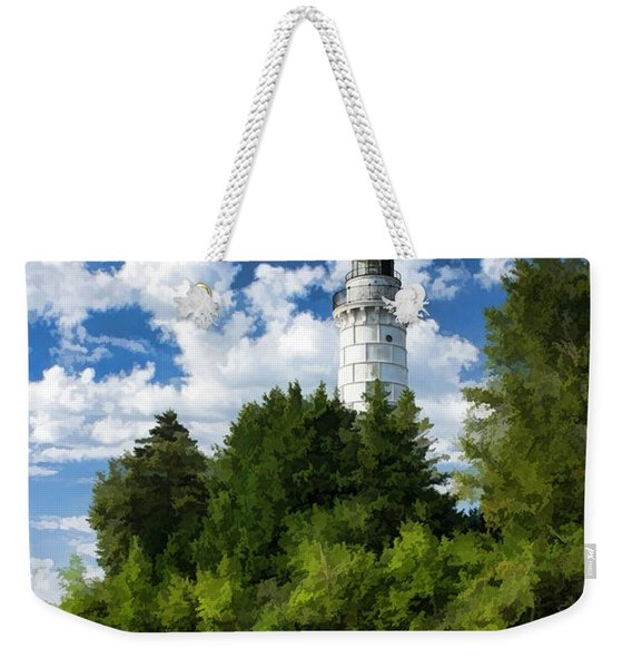 Cana Island Lighthouse Cloudscape In Door County Weekender Tote Bag