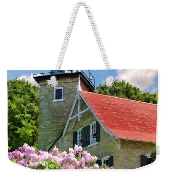 Door County Eagle Bluff Lighthouse Lilacs Weekender Tote Bag