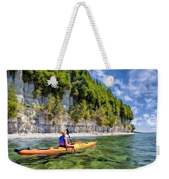 Door County Kayaking Around Rock Island State Park Weekender Tote Bag