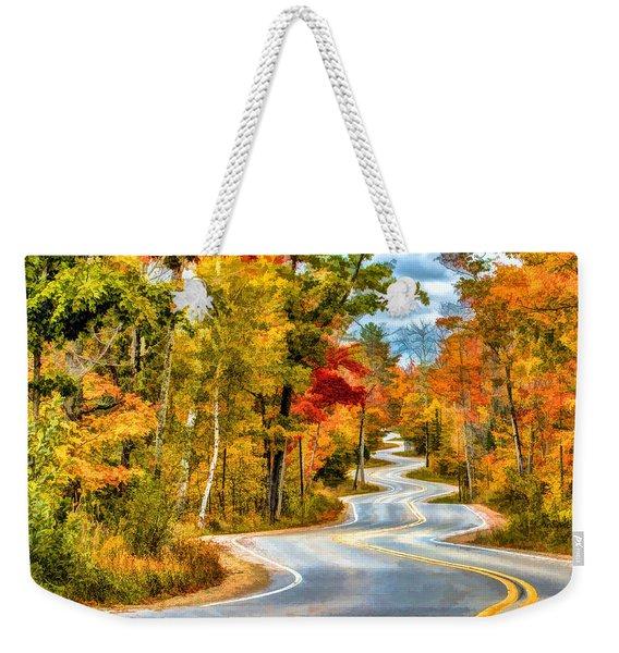 Door County Road To Northport In Autumn Weekender Tote Bag