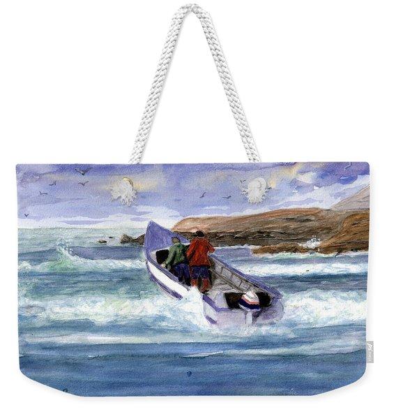 Dory Boat Heading To Sea Weekender Tote Bag