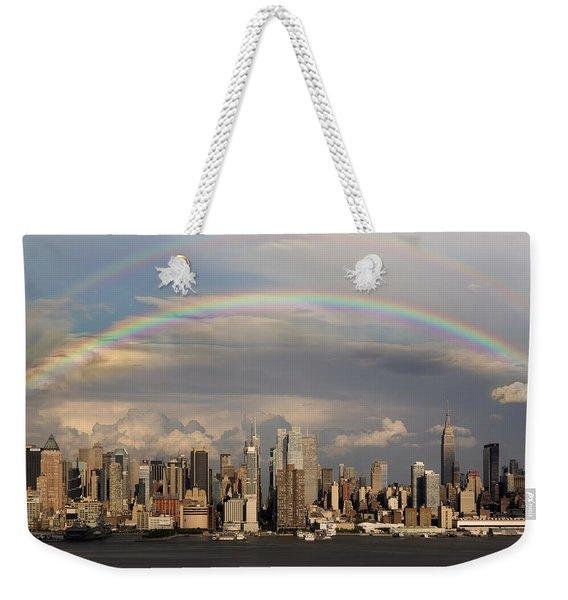 Double Rainbow Over Nyc Weekender Tote Bag