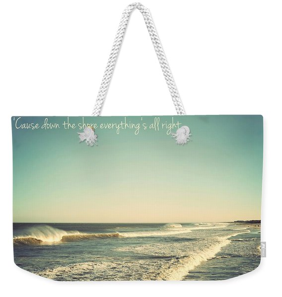 Down The Shore Seaside Heights Vintage Quote Weekender Tote Bag