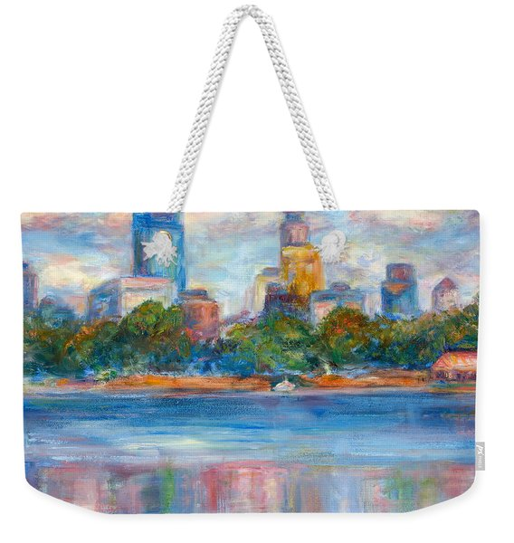 Downtown Minneapolis Skyline From Lake Calhoun II - Or Commission Your City Painting Weekender Tote Bag