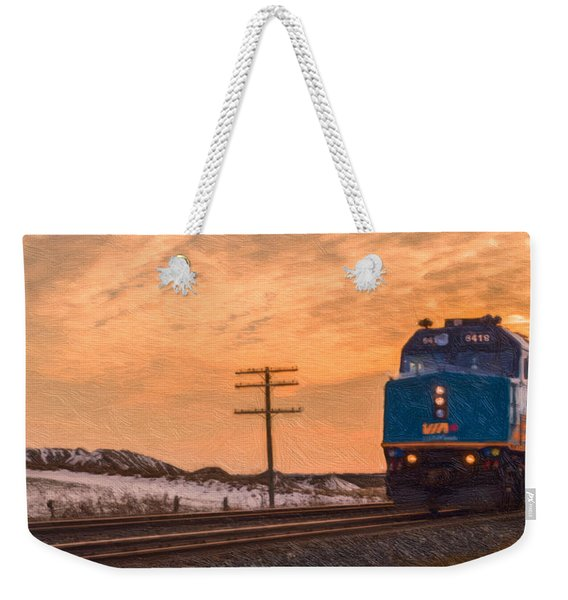 Weekender Tote Bag featuring the photograph Downtown Train by Garvin Hunter