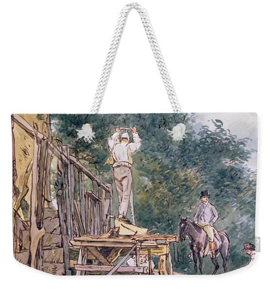 Dr. Monro Inspecting His Stables Pen And Ink & Wc On Paper Weekender Tote Bag